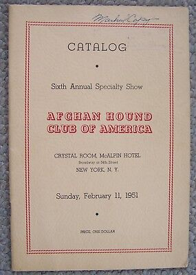 1951.Catalog Sixth Annual Specialty Show AFGHAN HOUND CLUB OF AMERICA.