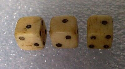 Antique collectable  lot 3 x miniature carved cow bone Dice 6-7mm