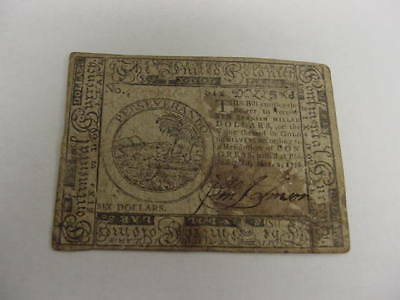 1776 Continental Currency $6 Note Signed Hill & Sellers