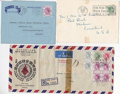 1951/9 3 x HONG KONG COVERS 1 REGISTERED 8 STAMPS - 9th EXHIBITION SLOGAN 1951