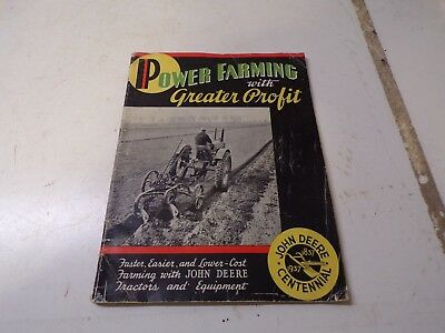 1937John Deere Centennial Power Farming with greater profit Sales Brochure