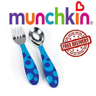 Baby Fork and Spoon Cutlery Set Toddler Food Feeding Munchkin 12m+ Blue