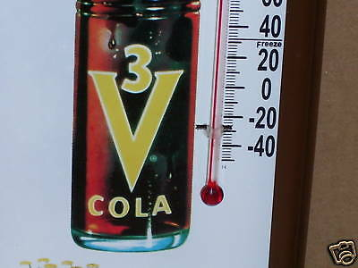 3-V COLA -- Glass Bottle --- GAS STATION THERMOMETER ---- Shows Old Paper Carton