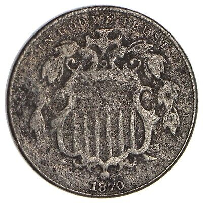 Tough - 1st Nickel - 1870 Shield Nickel - US Type Coin - Over 100 Years Old *822
