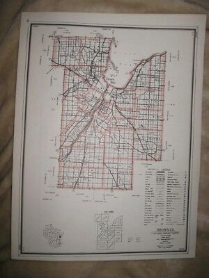 Antique 1959 Brown County Wisconsin Map Hunting Fishing Road Highway Type Rare