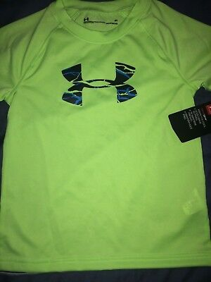 Boy's Under Armour Neon Green & Blue T-shirt Size 3T NEW NWT