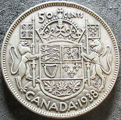 1938 Canada Silver Fifty Cent Coin