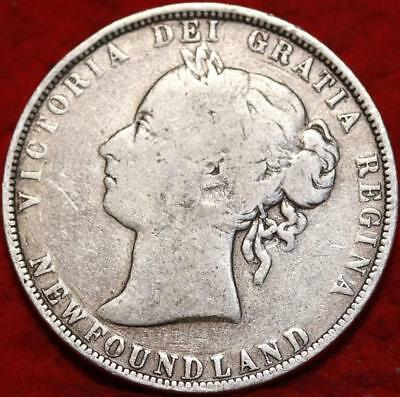 1899 Newfoundland 50 Cents Silver Foreign Coin