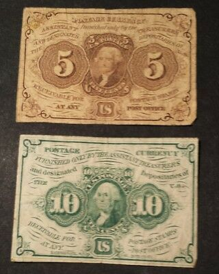 1862 Fractional Postage Currency 5 & 10 cent circ