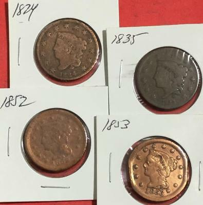 1824 1835 1852 & 1853 US LARGE CENTS Set of 4 Carded Coins!
