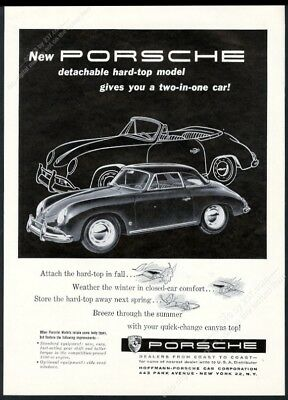 1958 Porsche 356 detachable hardtop car photo and art vintage print ad