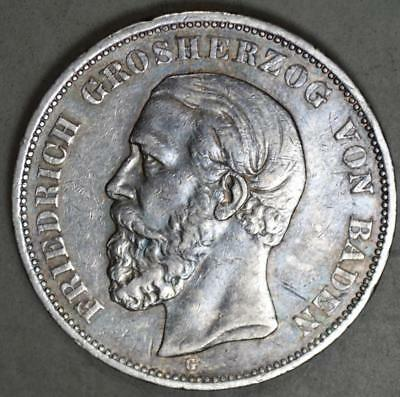 Germany-Baden 1901-G 5 Mark Silver Coin