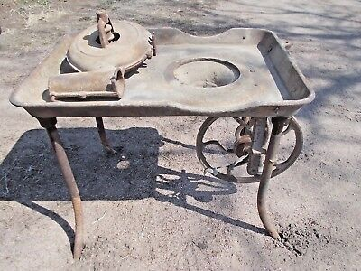 Antique Blacksmith Coal Forge Cast Iron Pan with Belt Drive Blower