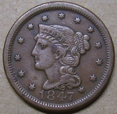 1847 Braided Hair Large Cent, Better Date, Early American Copper Type Coin