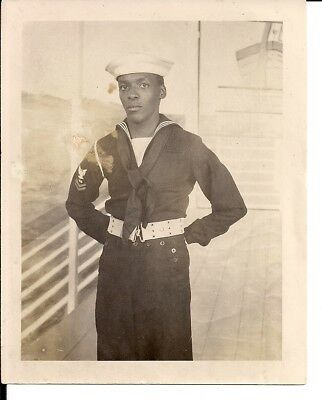 WWII Era Photo Handsome Black African American US Navy Petty Officer 2nd Class