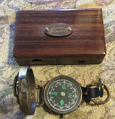 Engineer Compass With Wooden Laquered Case