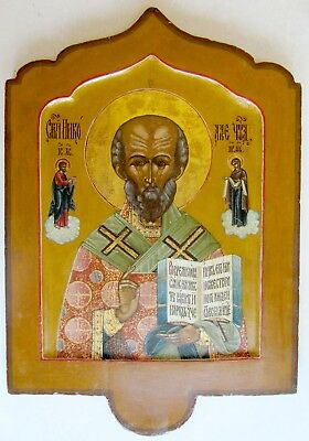 19th CENTURY ANTIQUE RUSSIAN ICON of ST.NICHOLAS MIRACLEWORKER