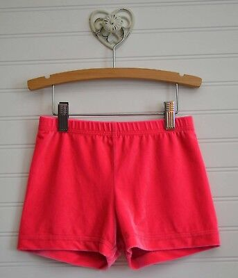 Young Girls GK ELITE Sz Small Hot Pink Velour Gymnastics Cover Shorts