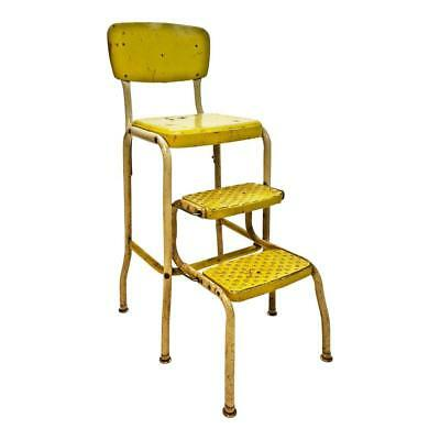 Vintage STEP STOOL folding chair machine age cosco industrial metal shop yellow