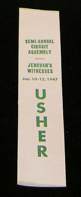 1947 Usher Semi-Annual Circuit Assembly RIBBON Jan. 10-12 light pink Watchtower