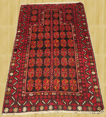 Hand Knotted Vintage Afghan Balouch Wool Area Rug 5 x 3 Ft (3464)