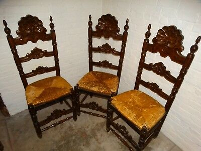 Lot Four Antique Gothic Dining Chairs