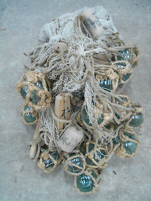 Collectable Vintage FISHING NET with GLASS +WOOD FLOATS Very Large Japanese #806