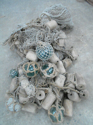 Collectable Vintage FISHING NET with GLASS +WOOD FLOATS Large Japanese #808