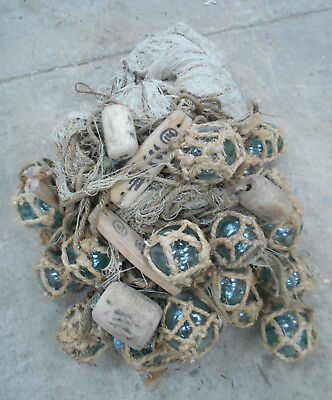 Collectable Vintage FISHING NET with GLASS +WOOD FLOATS Very Large Japanese #816