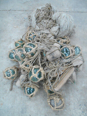 Collectable Vintage FISHING NET with GLASS +WOOD FLOATS Very Large Japanese #817
