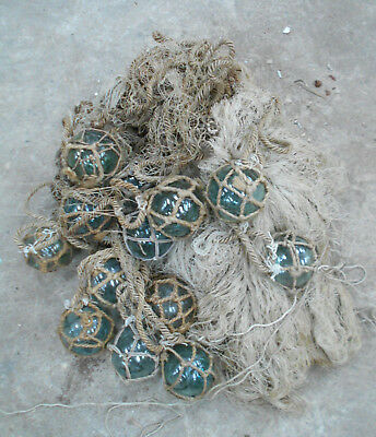Collectable Vintage FISHING NET with GLASS FLOATS Small Japanese #810