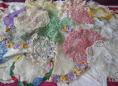 53 x Vintage DOILIES MATS Job Lot TABLE LINEN CROCHET EMBROIDERY WEDDING TEA