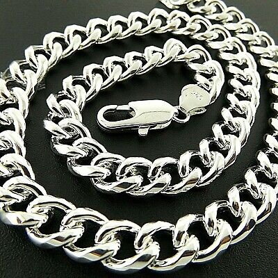 Necklace Chain Genuine Real 925 Sterling Silver S/F Solid Men's Heavy Curb Link