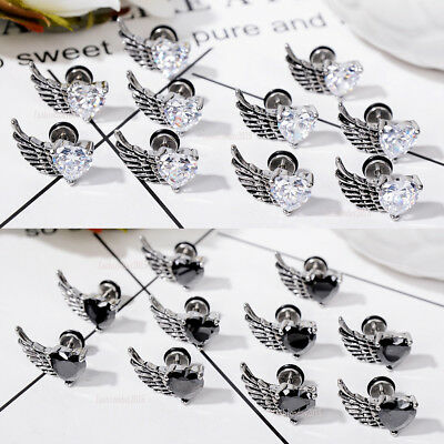 Stainless Steel Feather Wing Barbell Ear Cartilage Helix Stud Earring Piercing