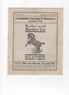 1902 Columbus Carriage & Harness Co Catalog Horse Robes & Blankets