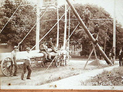 Antique Cabinet Card Photograph TELEPHONE Pole GANG Workers Norwalk Ohio Utility
