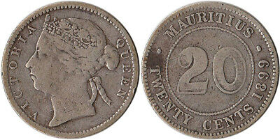 1899 Mauritius (British) 20 Cents Silver Coin KM#11.1 Mintage 500K
