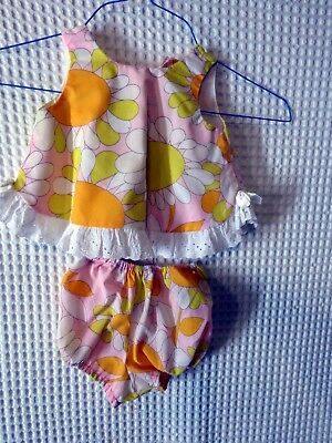 60s-70s Little Girls Pink Daisy Summer top & panties 22 breast as is
