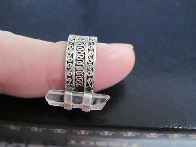 Indian Silver Ring With Natural Crystal.