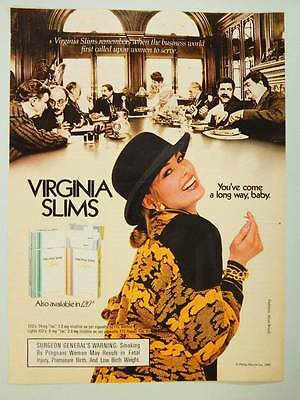 1985 Virginia Slims Cigarettes Vintage Ad Page Sexy Model Smoking Business World