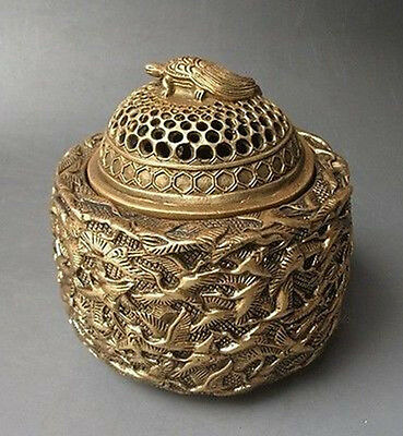 Chinese Hand-Carved Longevity thousand Crane Bronze Incense Burner NR