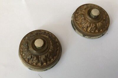 Vintage Pair Brass Classic Style Door Bell Push Buttons Acanthus  - Small Size