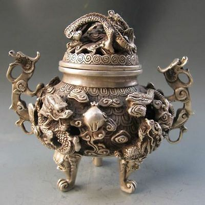 Collectible Old Tibet Hand Carved Dragon Statue Tibet Silver Incense Burner
