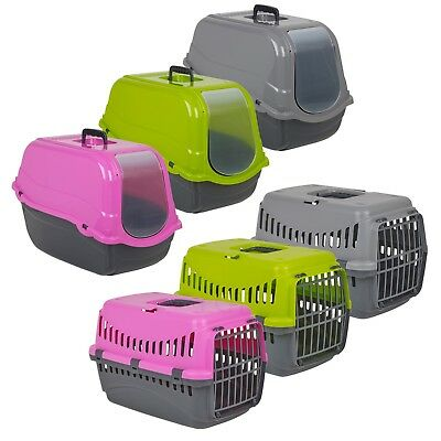 Cat Dog Pet Carrier Basket Portable Travel Kennel Hooded Litter Tray Toilet Box
