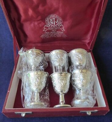 Vintage boxed set of 6 Indian sterling silver miniature goblets ##NUN67BS