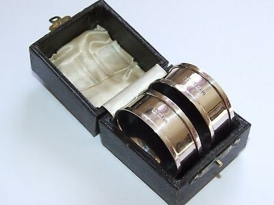 Superb, Tactile Pair Of Vintage 1938 Solid Sterling Silver Napkin Rings, Boxed!