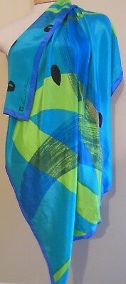 Vintage Silk Anne Klein for Vera Scarf Wrap 35 by 36 Blue Green Abstract