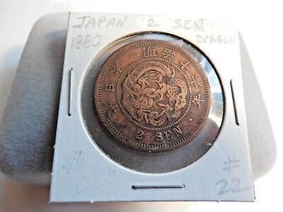 1880's Japan 2 Sen with Dragon ~ Copper ~ Extra Fine Condition