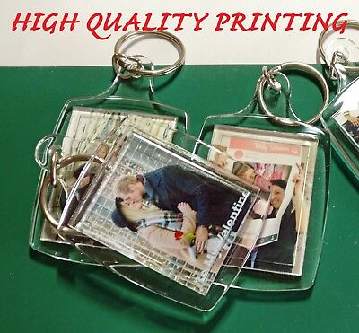 PERSONALISED YOUR PHOTO 45mmx35 KEYRINGmm GIFTS CUSTOM ANY TEXT DOUBLE SIDED