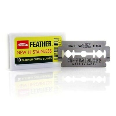 10 Ct Feather Hi-stainless Double Edge platinum coat Razor Blades-Fast USA ship